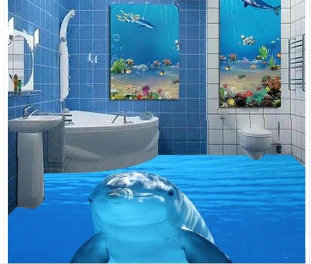 Dolphin Marine Sea Water 3d Tiles Floor Painting Wallpaper For Bathroom Waterproof Home Bedroom