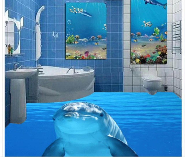 Dolphin marine sea water 3d tiles floor painting wallpaper - Decor marin pour salle de bain ...