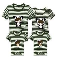 Family Shirts 2016 Men Striped T Shirt Harajuku Cartoon T-shirt Gym Clothing O Neck Tshirt Cotton Polera Mother Daughter Outfits