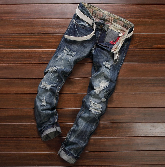 European American Style 2016 fashion brand black men jeans luxury Mens casual denim trousers Hole Slim Straight jeans for men