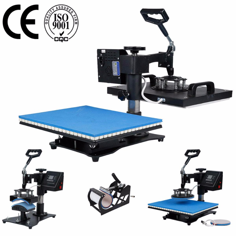 Double Display 30*38CM 5 In 1 Combo Heat Press Printer Machine 2D Sublimation Vacuum For T-shirts Cap Mug Plates