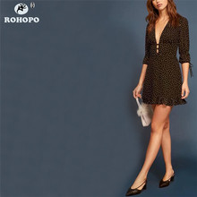 ROHOPO Female Black Polk Dot Chiffon Dress Half Sleeve Ruffles Ladies Mini V Neck Autumn Vintage Pleated vestido #YY038H