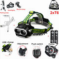 2 x CREE XML T6 4000Lm LED Headlamp Rechargeable Headlight Head Torch Lamp For Camping +2x18650 battery +USB cable