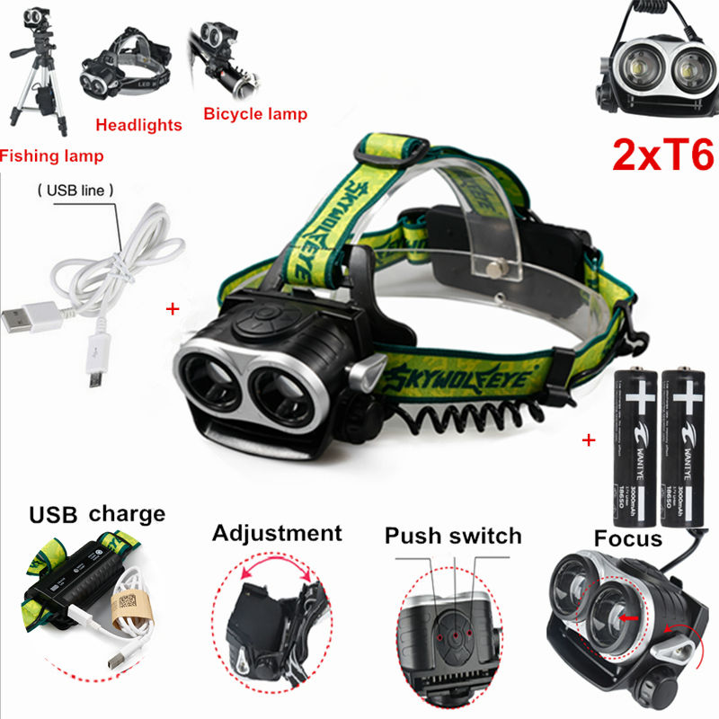 Zoom 2 x XML T6 4000Lm LED Headlamp Rechargeable Headlight Head Torch Lamp For Camping +2x18650 battery +USB cable rechargeable cree xml t6 2000lumens zoom head lamp torch led headlamp 18650 battery headlight flashlight lantern night fishing