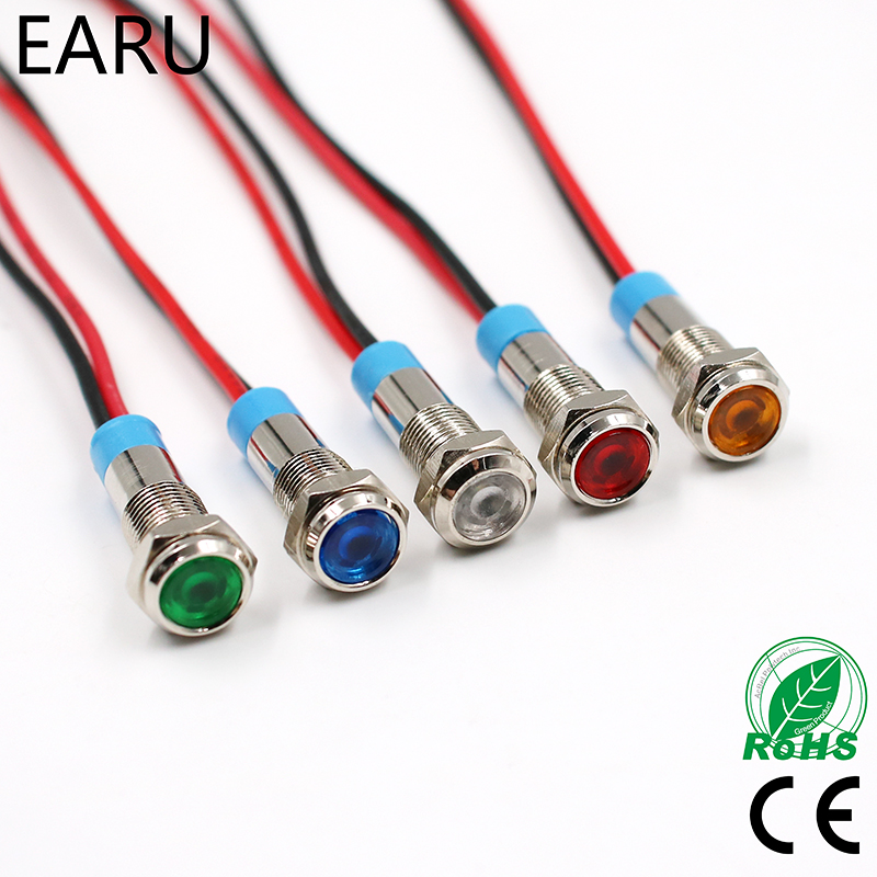 6mm LED Metal Indicator Light Waterproof Signal Lamp 3V 5V 6V 9V 12V 24V 110V 220v Red Yellow Blue Green White Pilot Sealing  pilot light hw1p 1q4y yellow