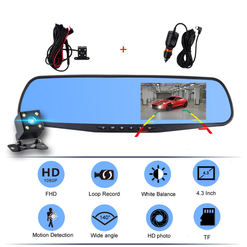 Car Dvr Camcorder Camera Rearview-Mirror Dash-Cam Dual-Lens Digital Auto-4.3inch Full-Hd