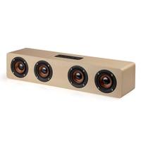 Wooden Wireless Bluetooth Speaker 12W Stereo Subwoofer Bluetooth Audio Desktop Speaker Handsfree TF Card AUX