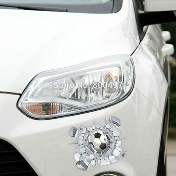 Pegatina 3D para coche, pegatina de fútbol para golpear el cristal para Tesla Chevrolet Cruze VW Golf Mazda Kia BMW Volkswagen llavero para Renault Opel Lada