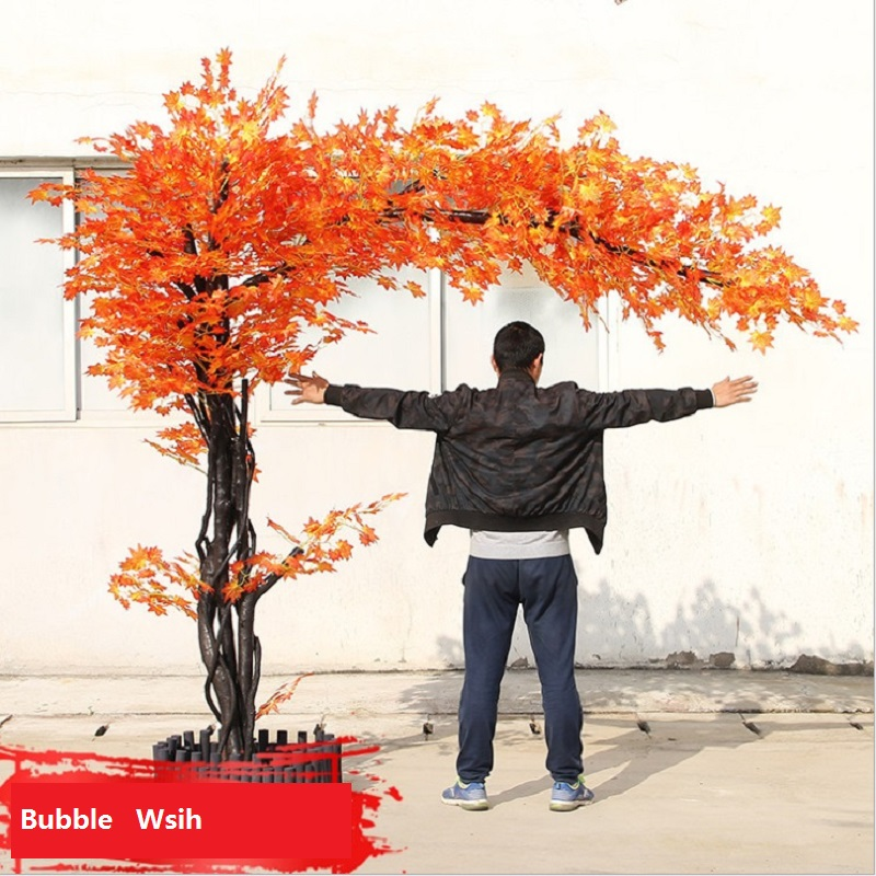 artificial maple tree Red maple tree Large scale simulation of green plants Shop living room decoration plant 1.5 M high - 2