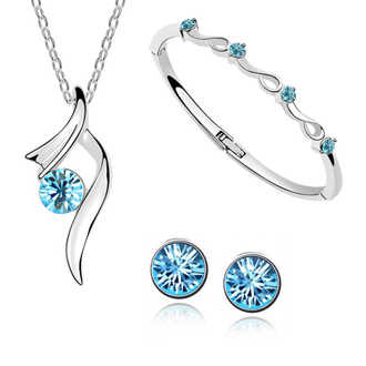 New 2014 Fashion Austrian Crystal pendant Necklace/Earring/Bracelet bangles Silver Plated Women wedding Bride Jewelry Sets