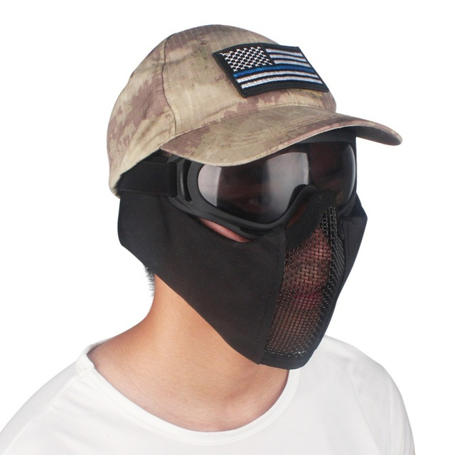 Tactical Half Face Metal Steel Net Mesh Mask Hunting Protective Guard Mask Cover for Airsoft Ear protection half-face mesh mask