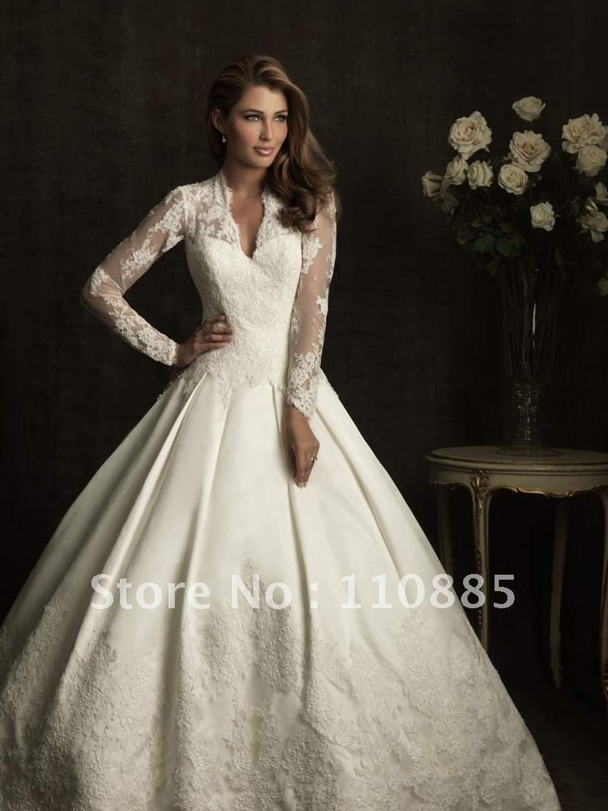 Princess Kate Wedding Dress.Ball Gown Satin Lace Cathedral Train Wedding Dress Replica Of