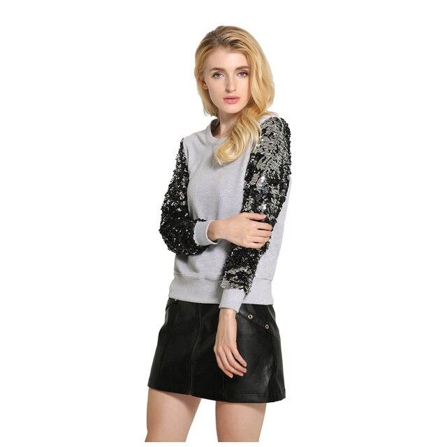 Горячие Для женщин блестит Толстовка Круглый воротник Блёстки с длинными рукавами кофты Пуловеры модная женская одежда