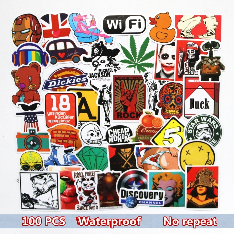 100pcs/ Set Graffiti Sticker Car Styling Skateboard Funny Cartoon Vinyl Decals For Decor Laptop Toy Kids DIY Cute Stickers