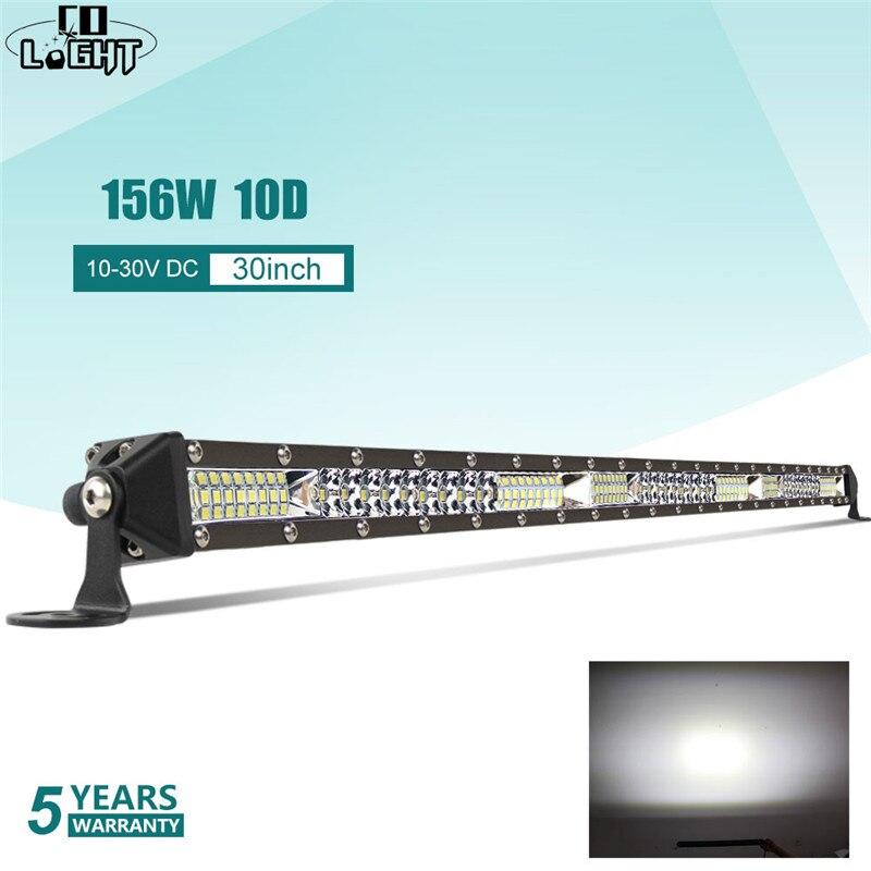 CO светильник 52 Вт 104 Вт 156 Вт 10D супер тонкий внедорожный светодиодный светильник бар точечный прожектор комбинированный луч светодиодный противотуманный светильник для грузовиков трактор УАЗ ATV - Цвет: 10D 30 inch 156W