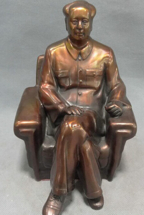 Old Chinese Rare Collectible Brass Handwork Chinese Leader Mao Zedong Statue