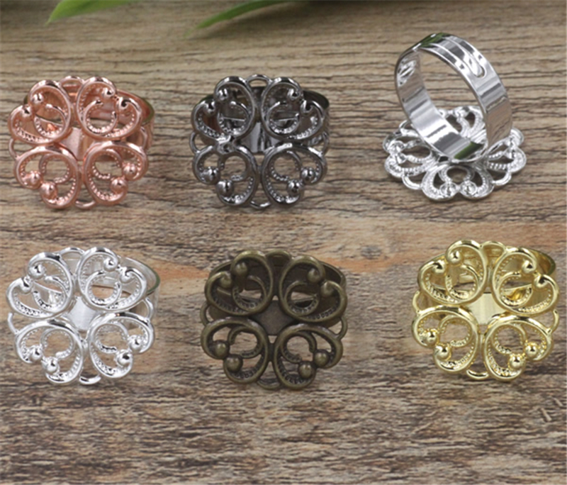20Pcs 6 Colors 20mm Flower Ring Base Jewelry Findings & Components Adjustable Ring Setting