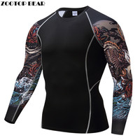 Print Compression T Shirts Fitness T Shirts Men Crossfit Shirts Quick Dry Tops Breathable Bodybuilding Tees