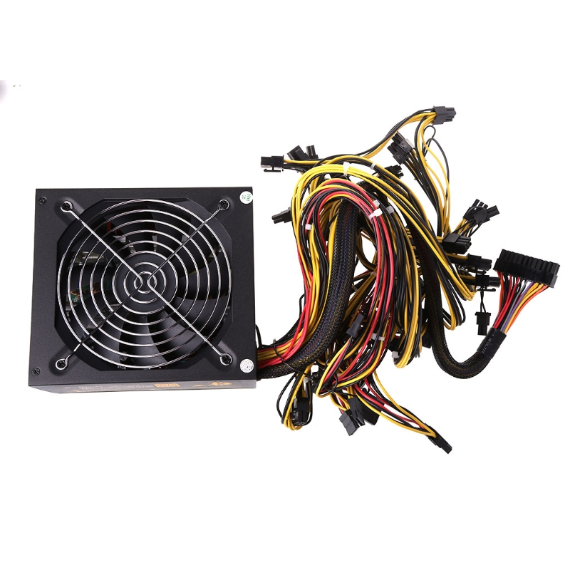 1600W Computer ATX Power Supply 14cm Fan Set For Eth Rig Ethereum Coin Miner US Plug