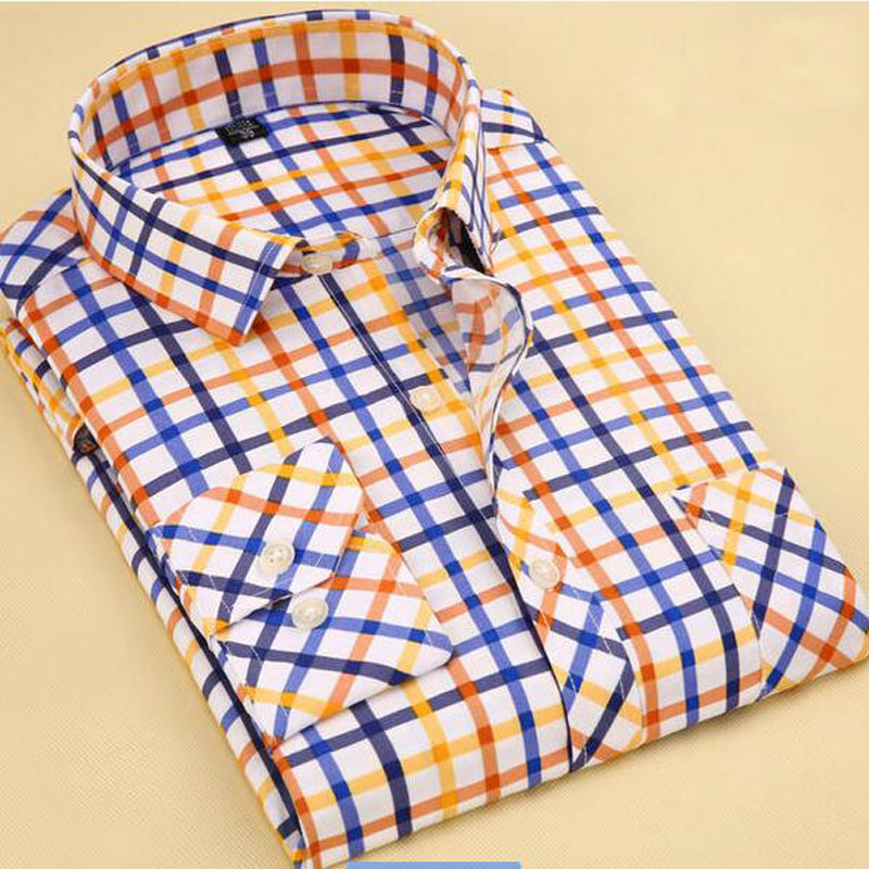 Men Clothes Slim Fit Men Long Sleeve Shirt Men Plaid Cotton Casual Men Shirt Social Plus ...