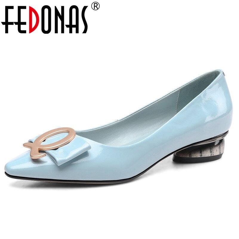 Fedonas 2019 지적 발가락 우아한 레트로 여성 펌프 새로운 클래식 디자인 부드러운 가죽 오피스 신발 봄 여름 신발 여자-에서여성용 펌프부터 신발 의  그룹 1