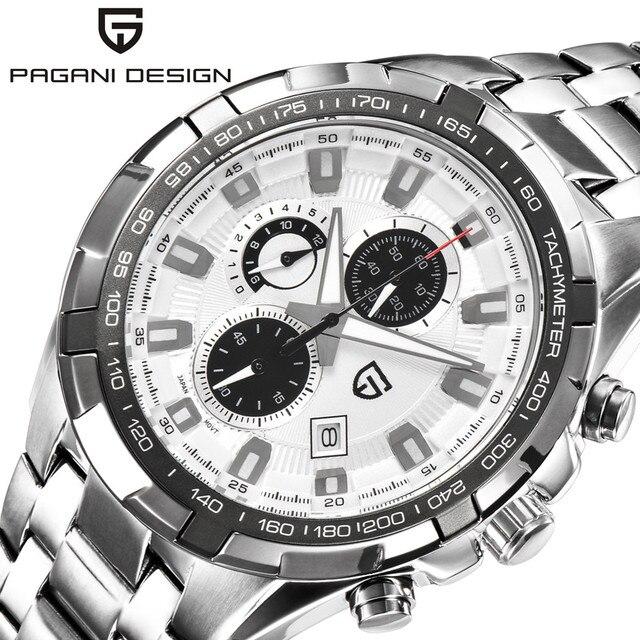 PAGANI DESIGN Brand Men Wrist Watch Waterproof Quartz Chronograph Watch Male Stainlerss Steel Sport Military Watch Men Clock