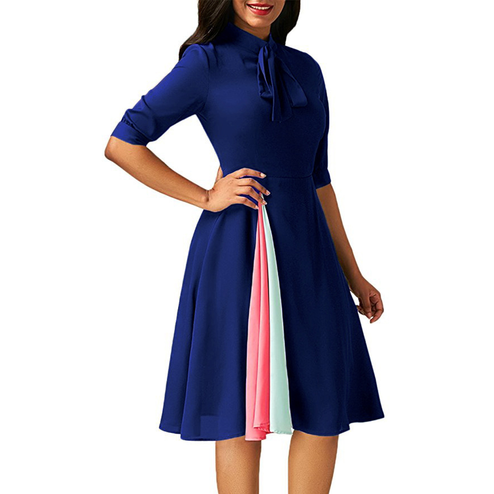 Fashion Women Ties Collar Half Sleeve Summer Party Color Blocking Splicing Dress