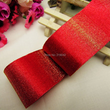 MD921110,free shipping 38mm red gold Christmas Ribbon Wedding Party Favor Decoration Craft(China)