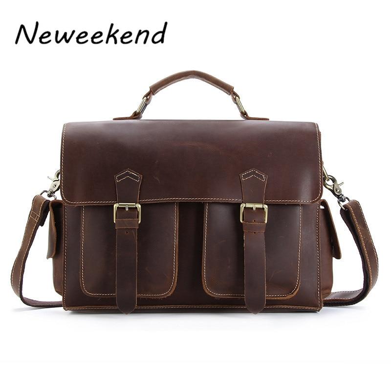 NEWEEKEND 1005 Vintage Genuine Leather Crazy Horse Large 4 Pockets Camera Crossbody Briefcase Handbag laptop iPad Bag for Man