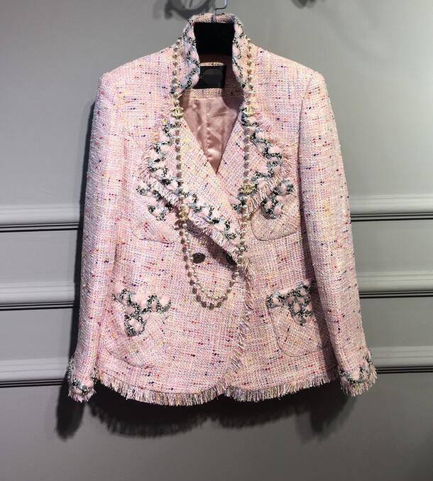 2017 взлетно посадочной полосы элегантный роскошный классический дизайн леди жемчуг подробно розовый переплетения твид короткая куртка бах