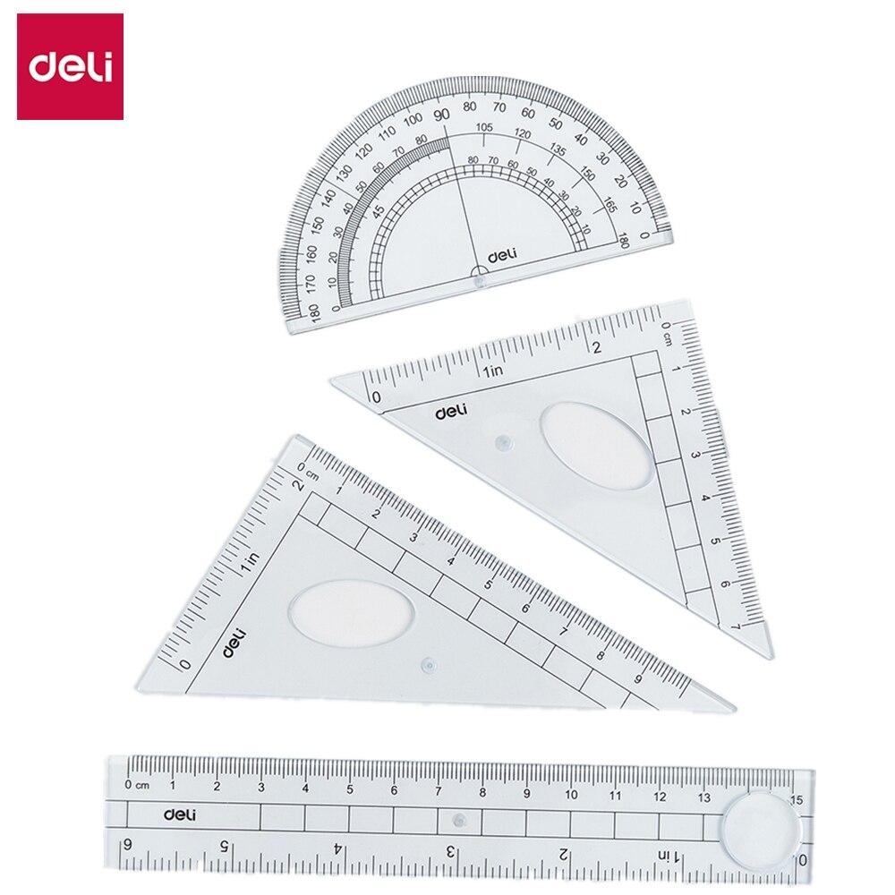 Deli E9597 Ruler Set Multifunctional Combination Ruler Triangle Ruler Goniasmometer 4 Pcs Set