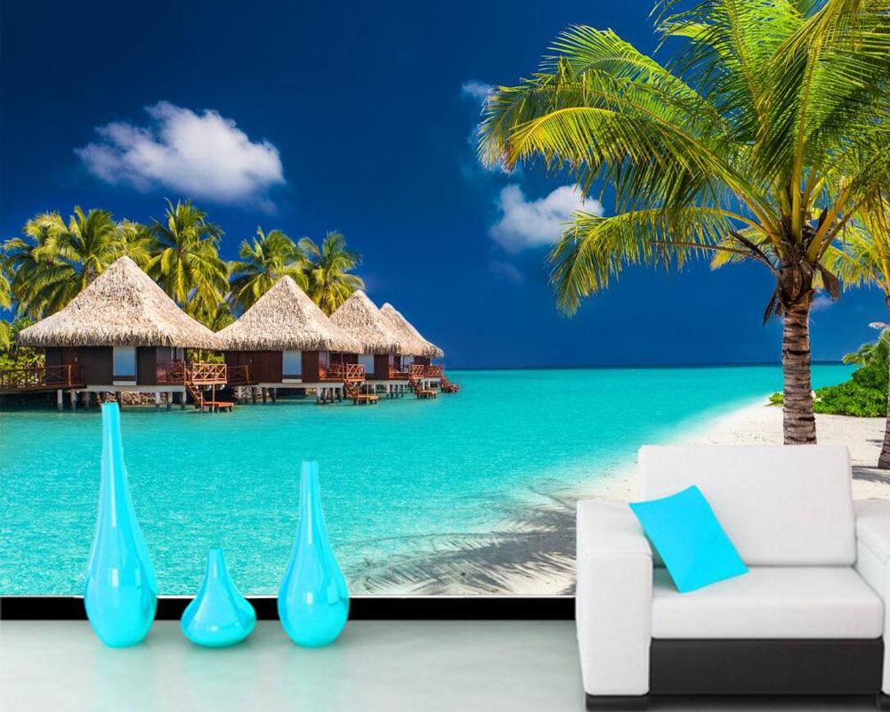 Papel De Parede Maldives Tropics Coast Palms Nature Photo 3d Wallpaper For Living Room Tv Sofa Wall Bedroom Papers Home Decor