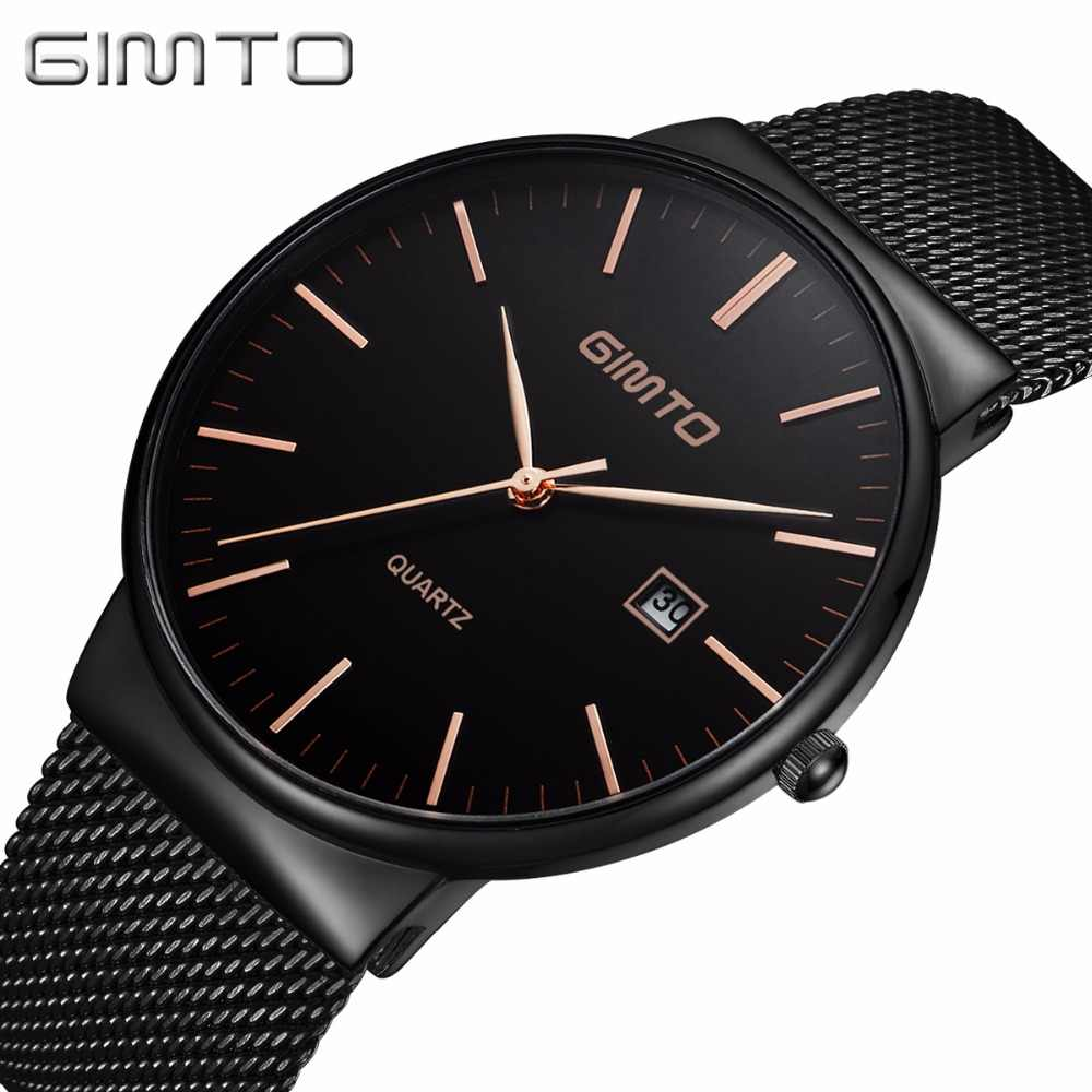 Fashion Classic Men Watch Business Casual Dress Wristwatch for Male Waterproof Calendar Date Time Black Unique Gift Clock GM218