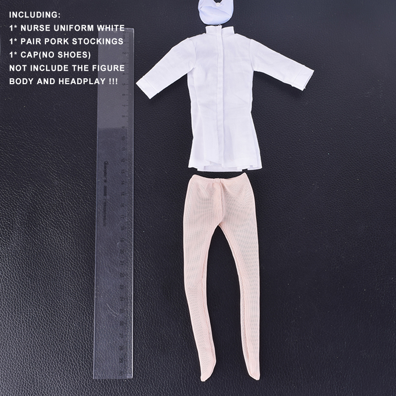 1/6 Scale figure Accessory Female White Nurse Sexy Uniform Suit Stocking Cap Set for 12 Inch Phicen Action Figure Doll Toys 1 6 scale figure clothes for 12 action figure doll accessories usmc uniform for male figure doll and shoes not included
