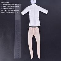 1/6 Skala rysunek Akcesoria Kobiet Biały Pielęgniarka Sexy Uniform Garnitur Stocking Cap Zestaw dla 12 Cal Phicen Figurka Doll zabawki
