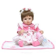Novo 18 polegada 42 cm NPK BONECA Reborn Bebê princesa rosa vestido de Silicone Suave Realista Handmade Newborn Bebe Bonecas Brinquedos de natal presente