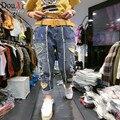 Весенние женские джинсы новый вышивка сердца сломанной края шить ноги джинсы мода Шаровары женские джинсы