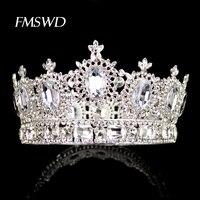 Silver Gold Luxury Full Crystal Big Crown Tiara Trendy Rhinestone Large Crystal Crown Princess Bride Wedding Headpiece Headdress