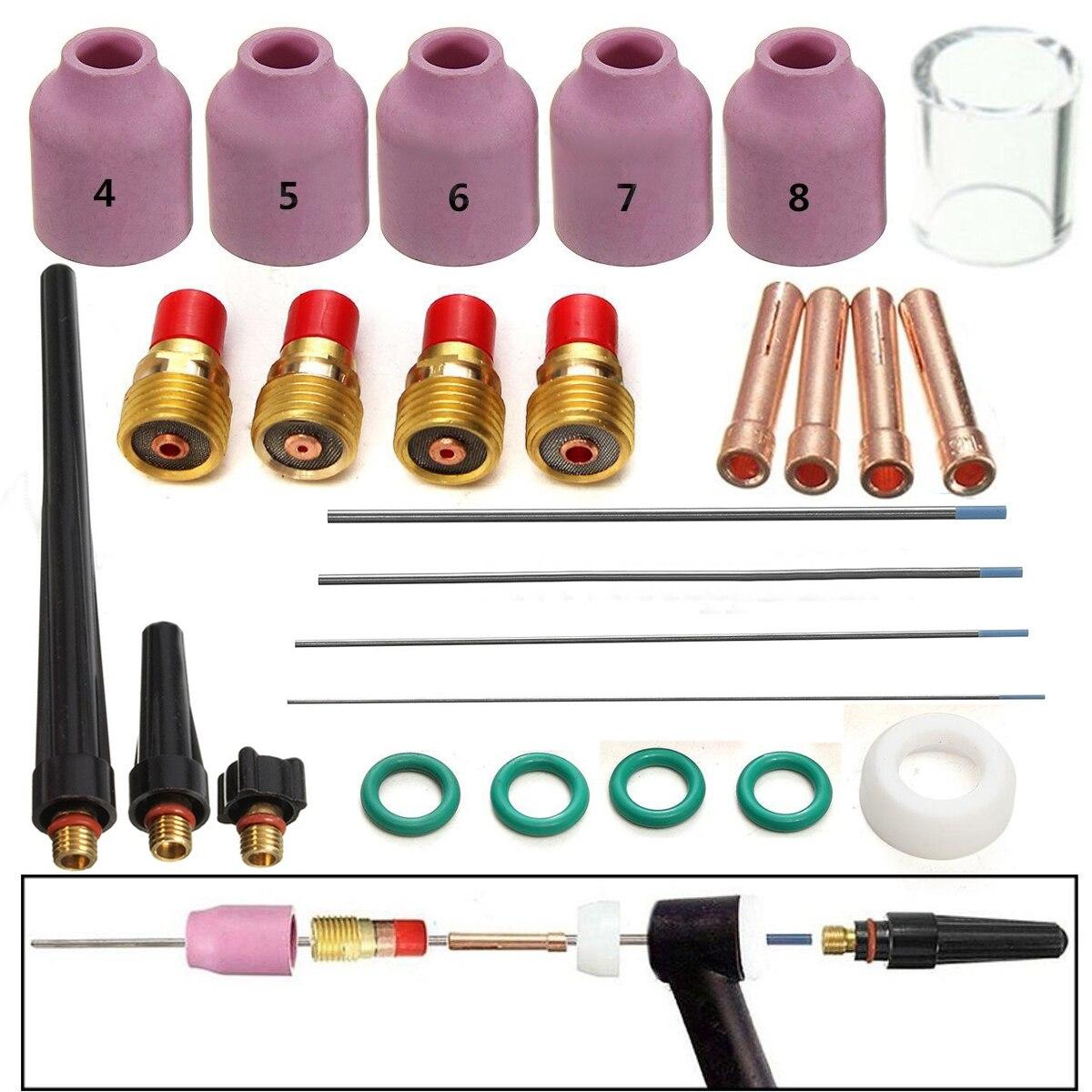 26pcs x Welding Torch Nozzle Cup Tungsten Gas Lens WL20 Kit For TIG WP-17 18 26 Part set