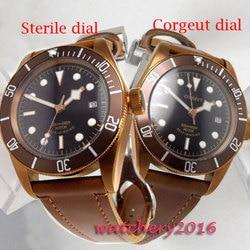 41mm Corgeut czarna tarcza szafirowe luksusowa marka zegarki mechaniczne stali świecenia automatyczne zegarek męski obrotowa ceramiczna ramka w Zegarki mechaniczne od Zegarki na