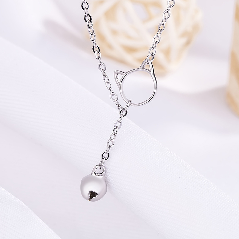 Simple Authentic Silver color Hollow Cute Lovely Kitten Bell Pendant necklace for woman Silver jewelry gift 2018 New Hot Sale