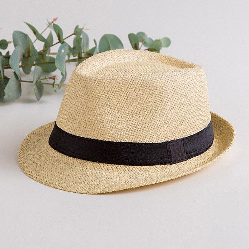 Men /& Womens Summer Short Brim Straw Fedora Hat