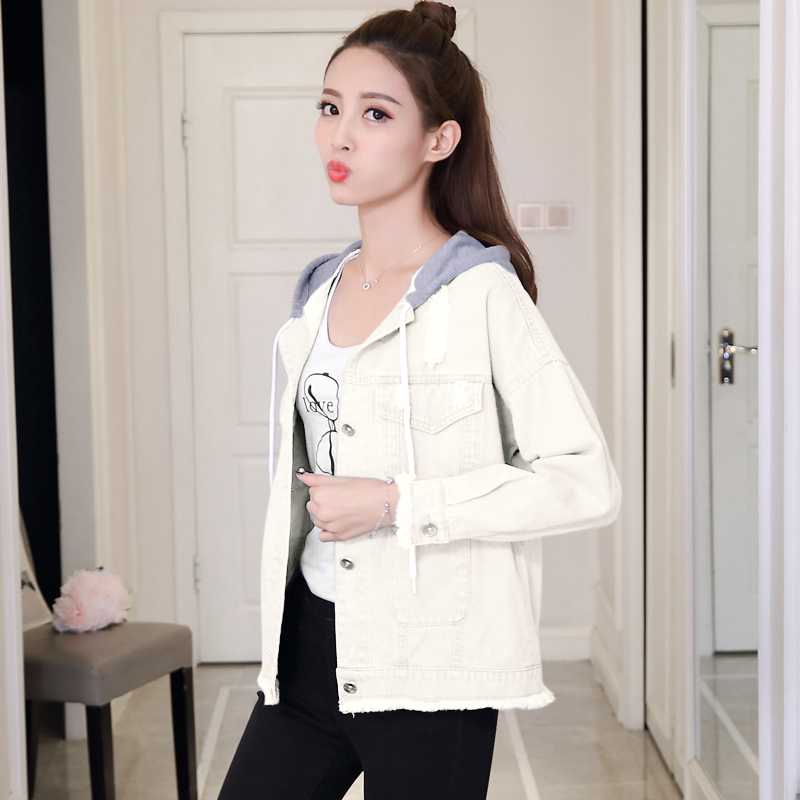 woman jacket spring 2019 New cowboy coat fashion Hooded Tops thin popular women's denim jackets Youth clothing for women 1240 48