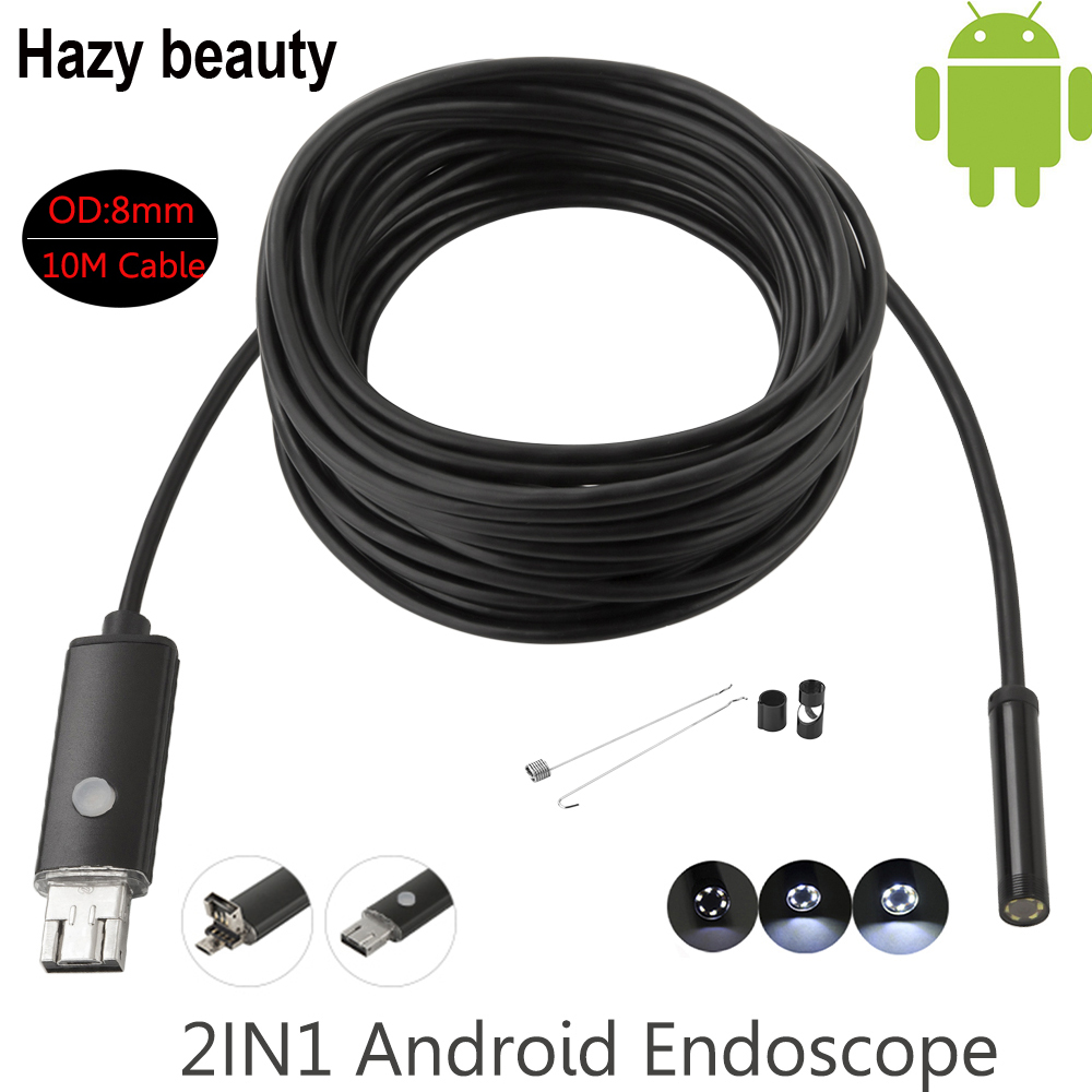 Hazy beauty 8MM USB Endoscope Android Camera 10M Snake Tube Pipe Waterproof Phone PC Endoskop Inspection Borescope Mini Camera hazy beauty usb android endoscope 8mm 5m length endoscope 2m hd inspection snake camera waterproof snake pipe borescope cam
