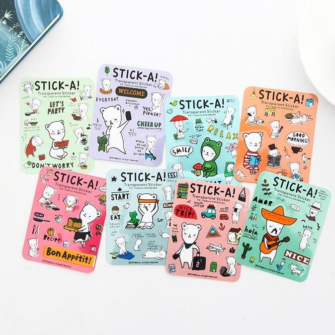 1Pcs New Mini Cartoon Kawaii Bear Stick-A Notes Sticky Notes Post It Memo Pad Stationery School Supplies Planner Stickers E2170