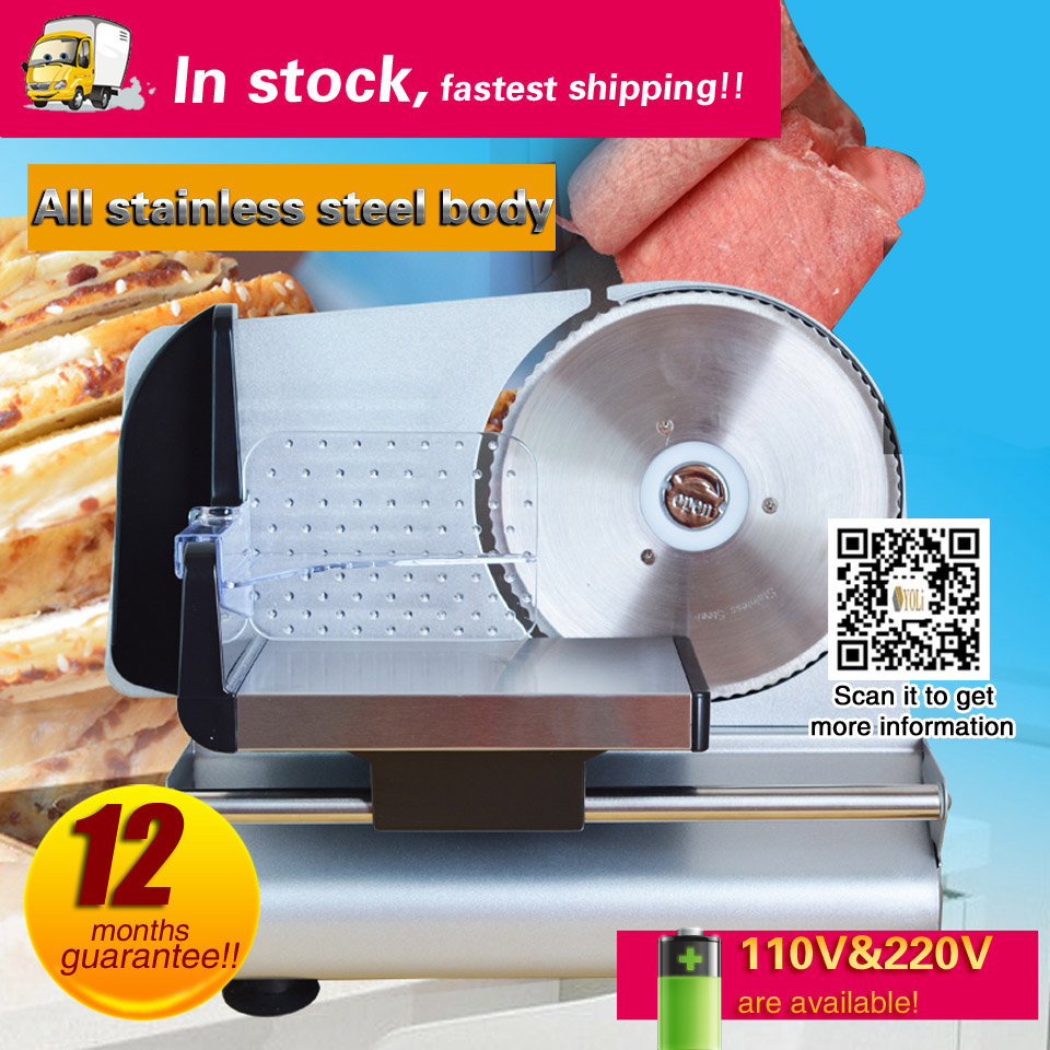 Electric Slicer Brushed Stainless Steel Adjustable Thickness To Cut All Kinds Of Frozen Meat, Meat Rolls.