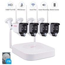Tonton bezprzewodowy System CCTV 1080P dysk twardy o pojemności 1TB 2MP 8CH NVR nadzoru wideo nagrywanie dźwięku czujnik PIR na zewnątrz zestaw kamery przemysłowej