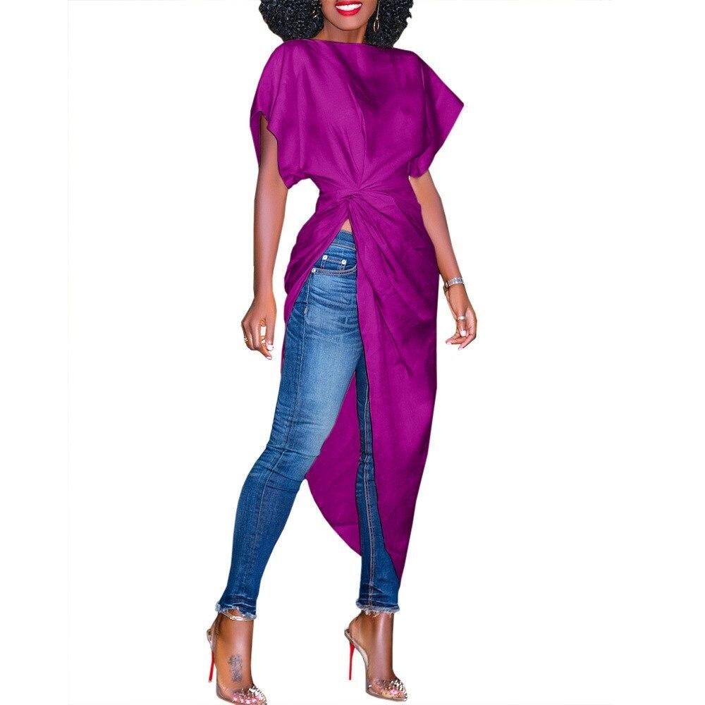 5798238aa41 2018 Women Yellow Summer Pleated Dress Short Sleeve High Waist Asymmetrical  Dress Streetwear Casual Long Shirt Dress