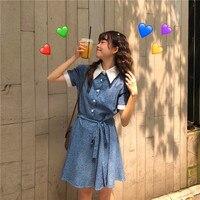 Summer Women's New Korean Turn down Collar Stitching Dot Short Sleeve Dress Sweet Student Dress