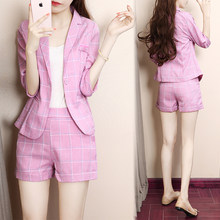 Suit jacket + shorts 2019 spring and autumn new overalls suit plaid professional wear fashion temperament Slim 2 piece set(China)